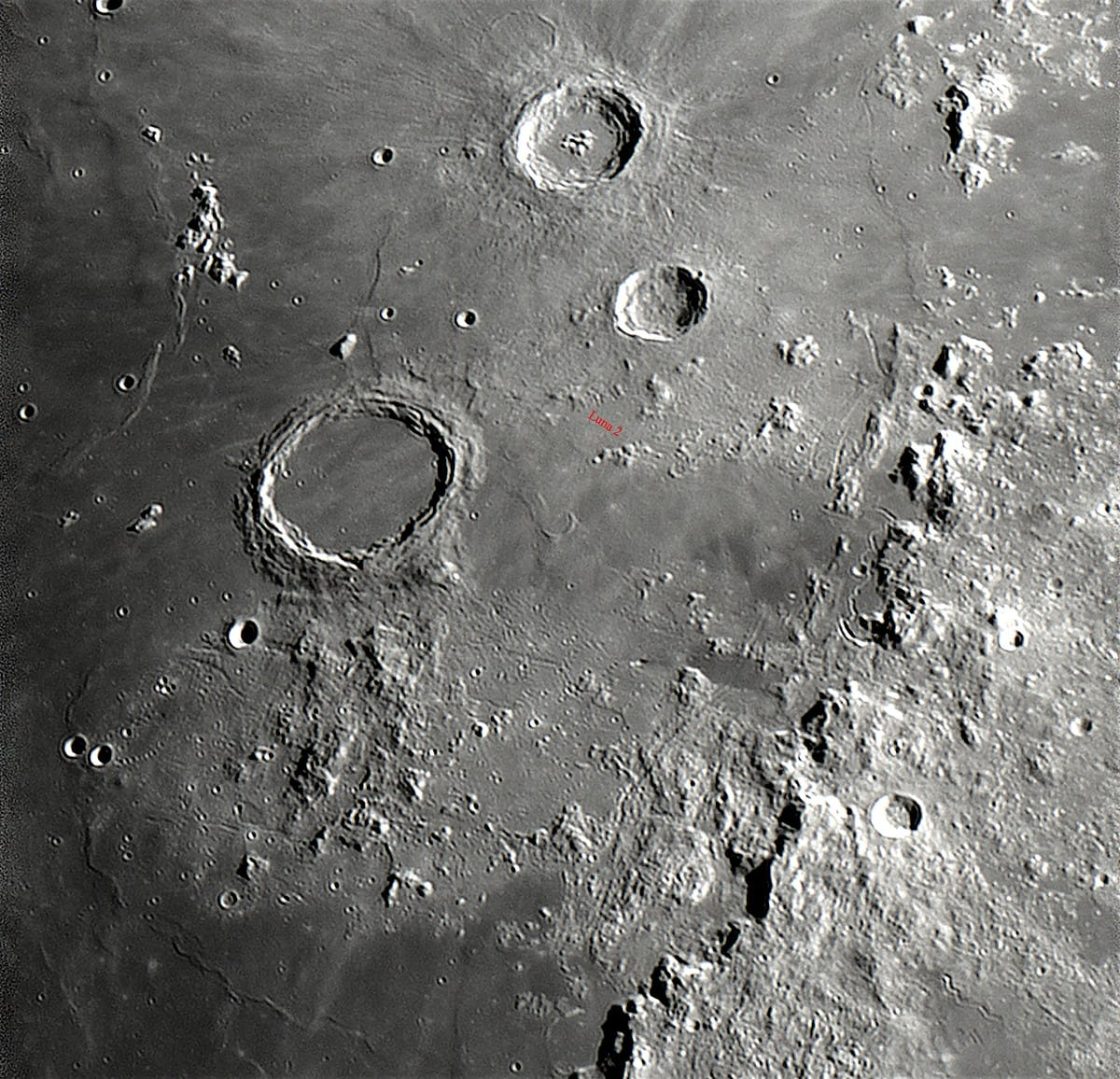 Archimedes und Aufschlagort von LUNA 2