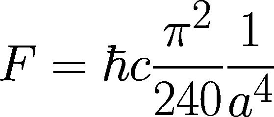 Die Gleichung für die Casimir-Kraft zwischen zwei Platten.
