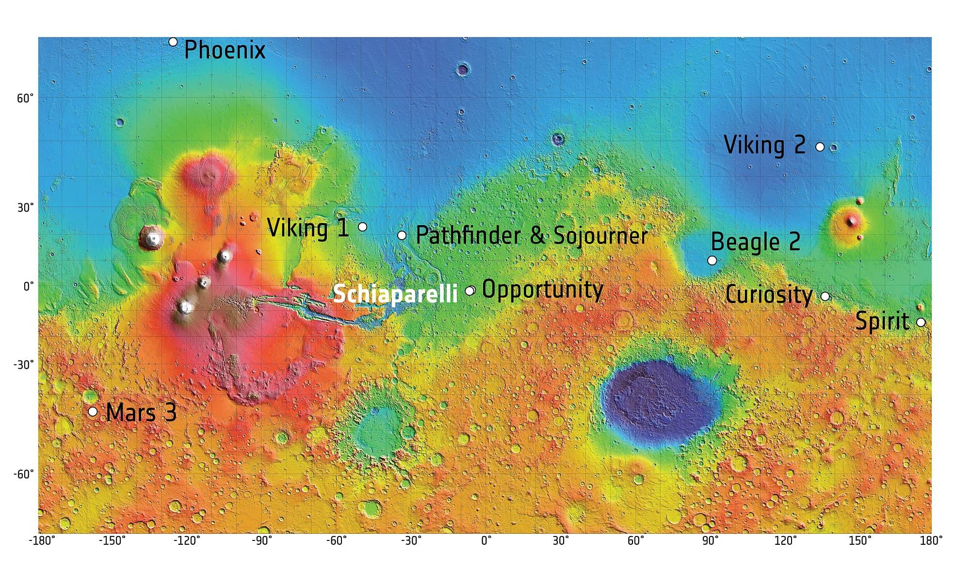 Landestellen auf dem Mars (Höhenkarte)
