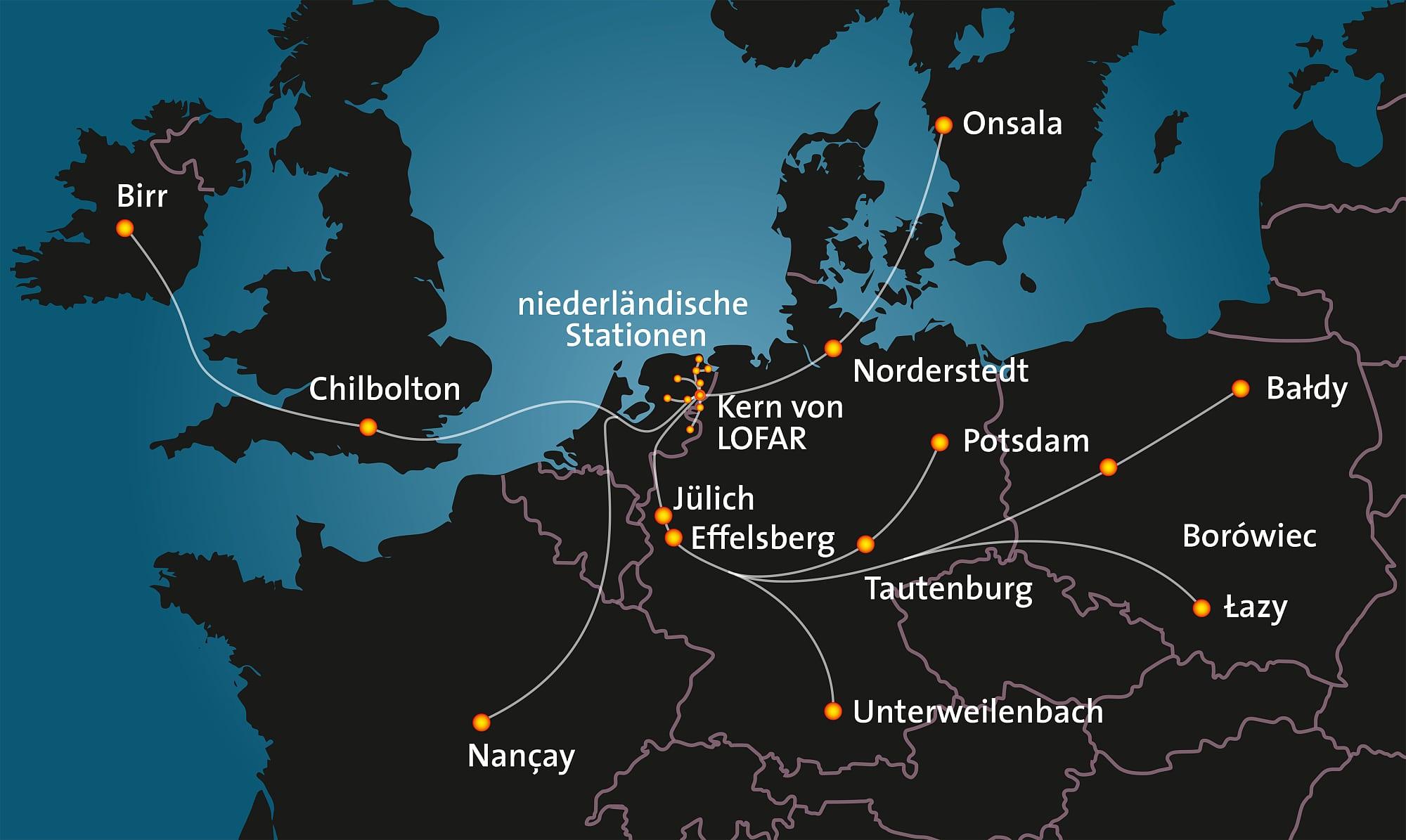 Karte mit LOFAR-Stationen