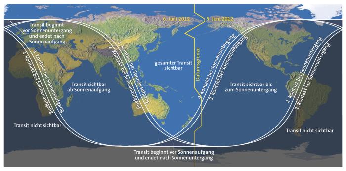 Sichtbarkeitsdiagramm des Venustransits vom 6. Juni 2012