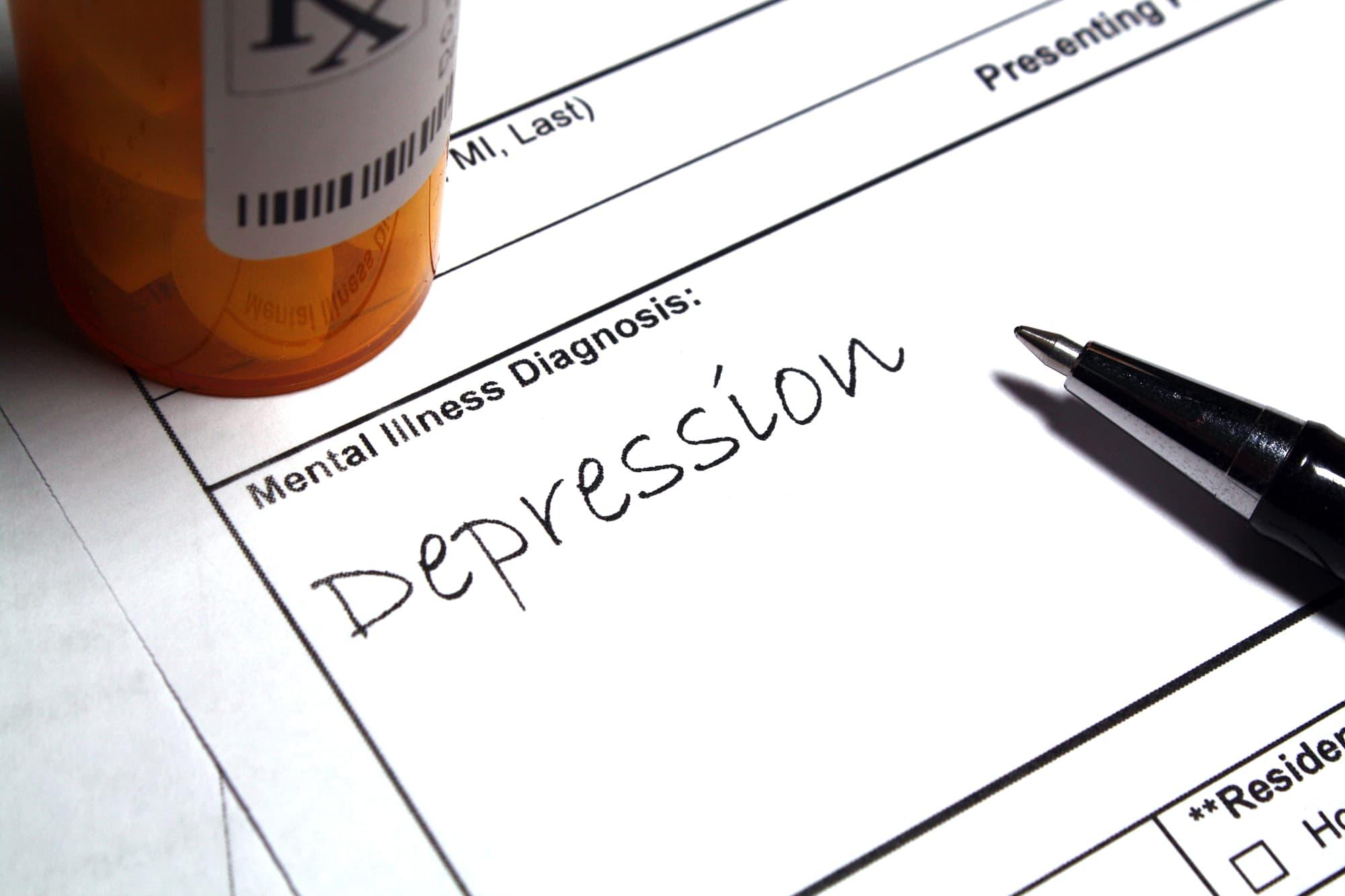 Ein Diagnosezettel mit dem Vermerk »Depression«