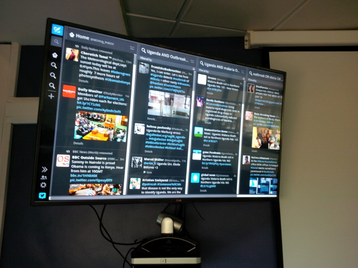 Ebola-Twitterwall in Ugandas Emergency Operation Center